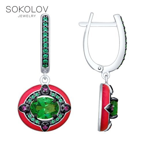 SOKOLOV Drop Earrings With Stones With Stones With Stones With Stones With Stones With Stones With Stones In Silver With Enamel And Green Glass-ceramic And Cubic Zirconia Fashion Jewelry 925 Women's Male
