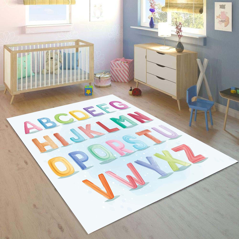Else Educatinal Alphabets Letters 3d Print Non Slip Microfiber Children Kids Room Decorative Area Rug Mat