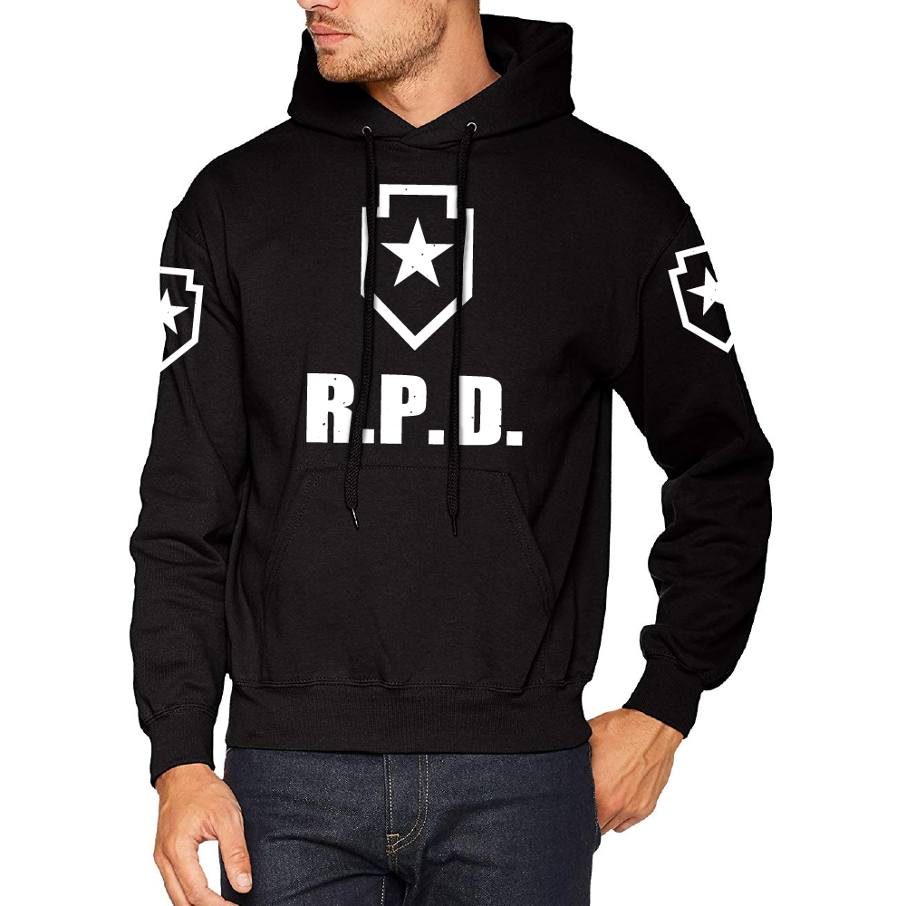 Sudadera hombre manga larga capucha Raccoon City policía Departamento RPD invierno casual abrigo moda 2020 informal hip hop
