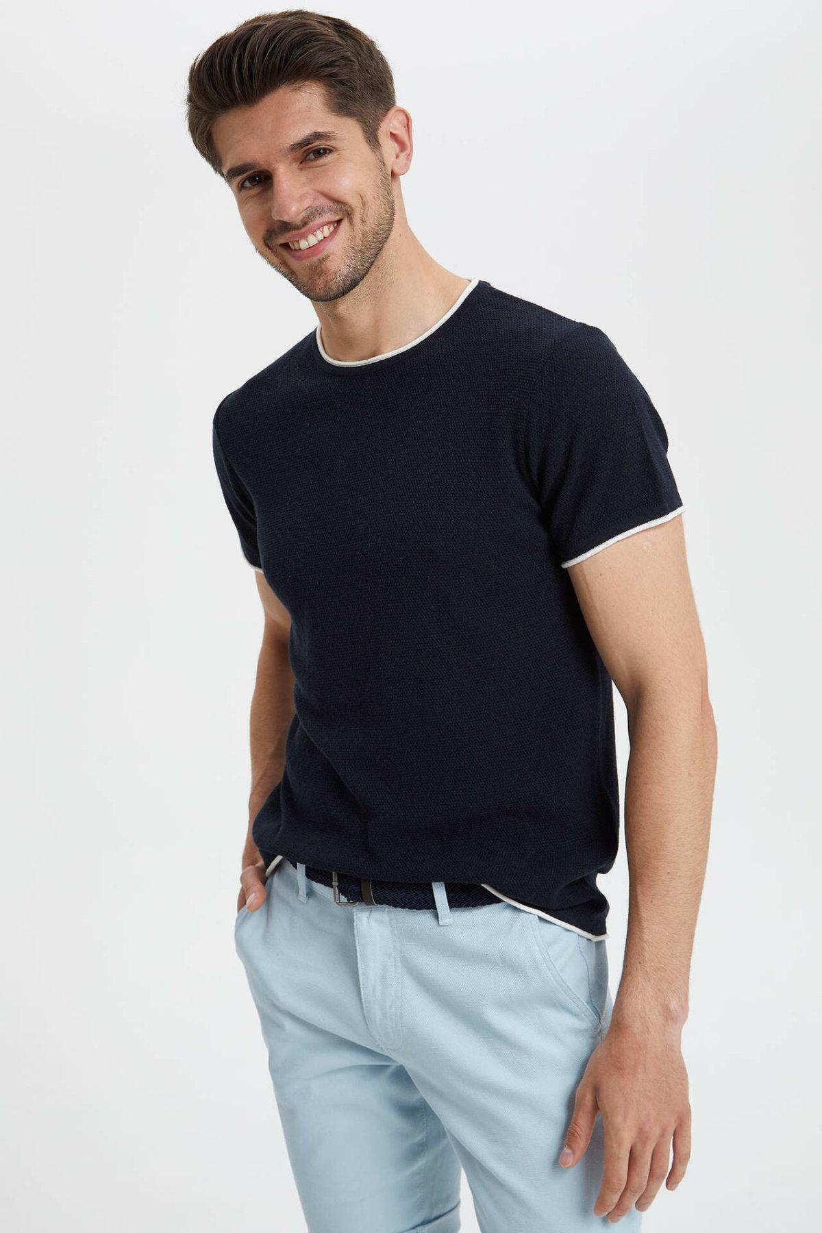 DeFacto Men Summer Crew Pure Color Shirt Tops Fashion Loose Simple Cotton Shirt Tops Mens Breathable New-L7207AZ19SM