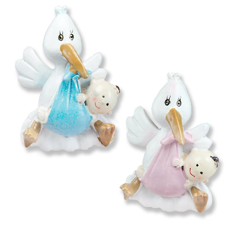12 Pieces Stork Carrying Baby In Its Beak Resin Decor