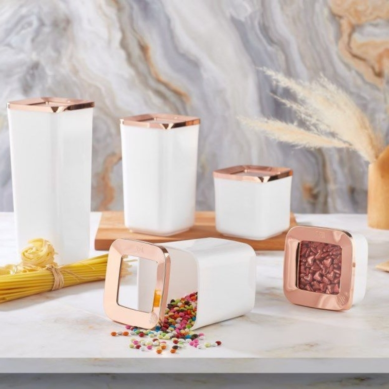 5-10-15-20-25-30 Pieces Luxury Kitchen Food Storage Box Vacuum Lid Airtight Organizer High Quality White Copper Square Storage Container Set Glass Look 250ml 700ml 900ml 1200ml 1700ml Keep Fresh Cookies Coffee Spice