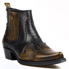 FootCourt- Brown Black Snake Printed Cow Leather Cowboy Ankle Boots Pointed Toe