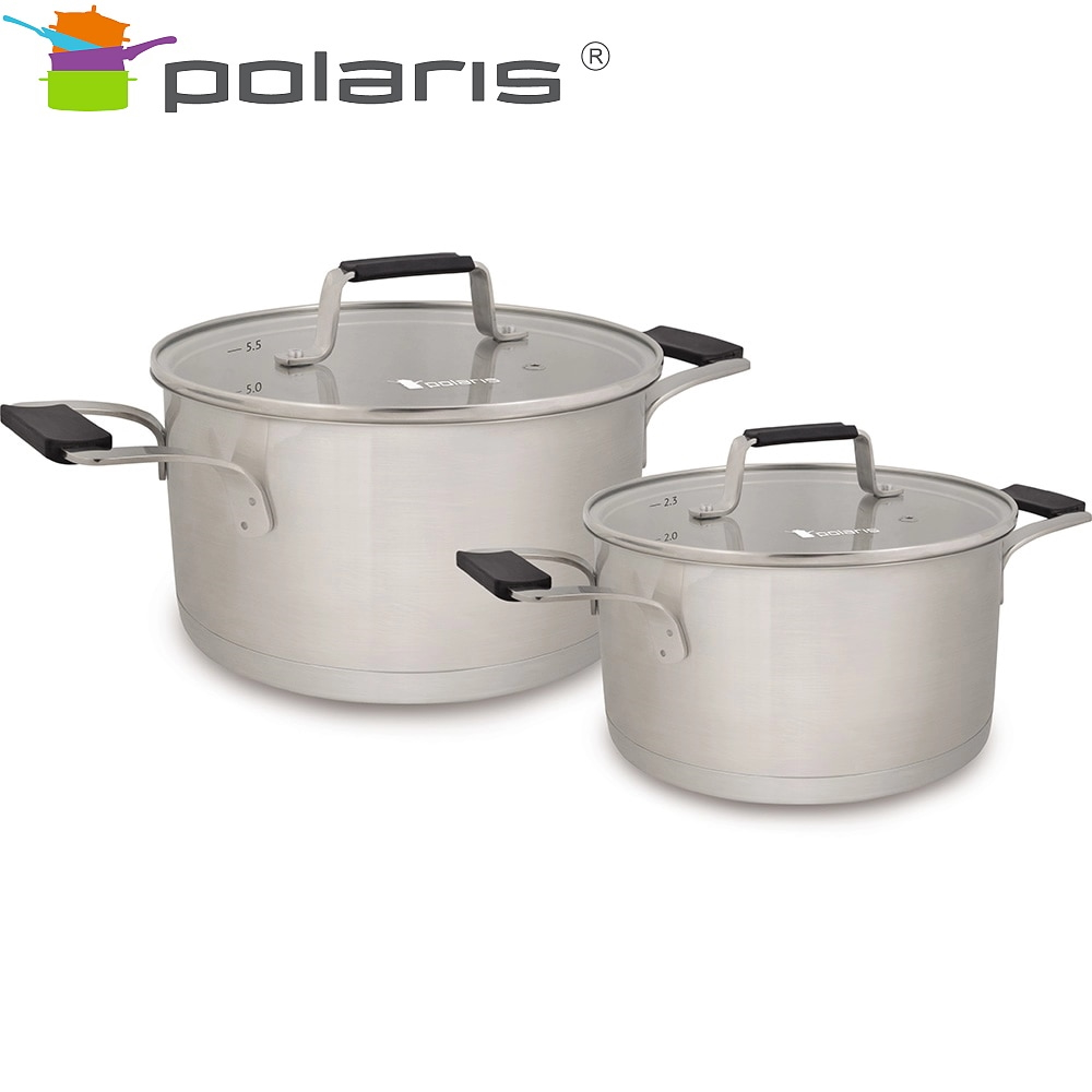 Set of tableware Polaris Verona-04S Kitchen Pans Stainless steel pots Steel cookware Pan with lid все цены