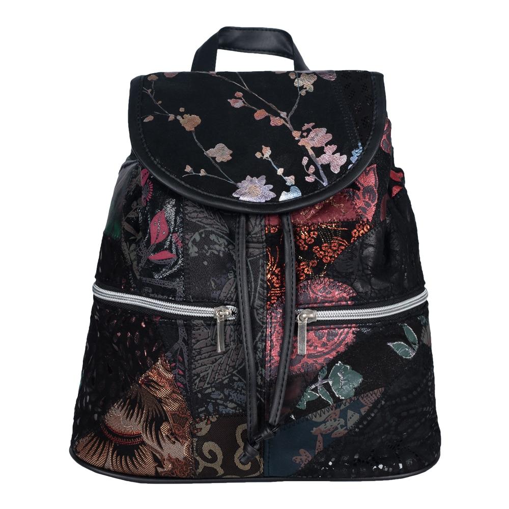 Mochila mujer de Piel y Textil Estamping Unica Tamaño ideal Uso diario 2