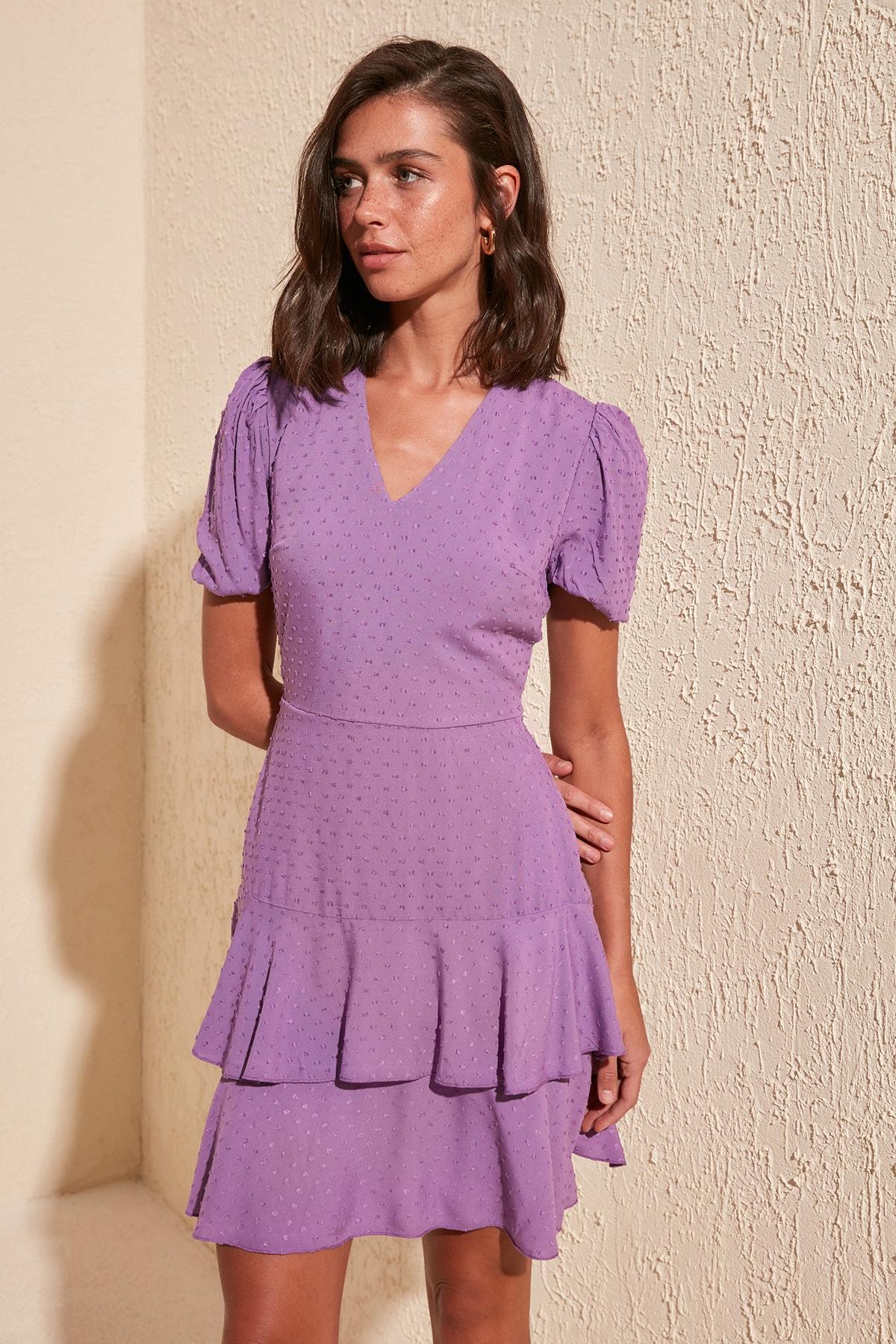 Trendyol Frilly Textured Fabric Dress TWOSS20EL0184