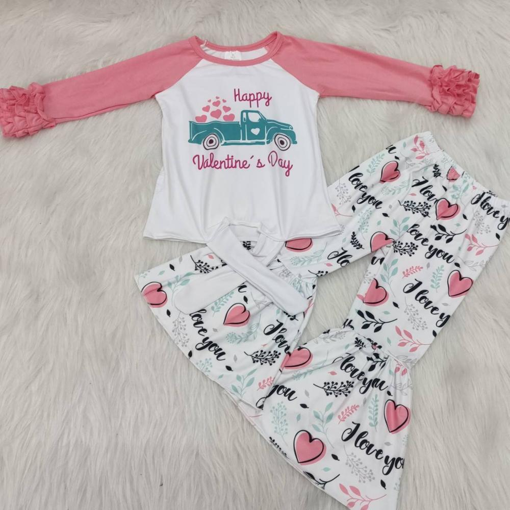 Kids boutique clothing toddler baby girls valentine outfits pink and white top shirt bell bottom set girl outfit holiday clothes
