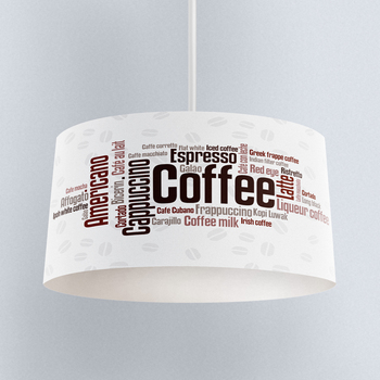 Else White Brown Coffee Writen Printed Fabric Kitchen Chandelier Lamp Drum Lampshade Floor Ceiling Pendant Light Shade