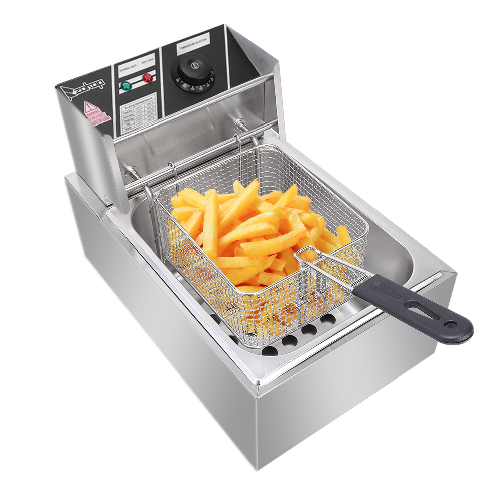 6.3 QT Commercial Home Electric Deep Fryer Stainless Steel Frying Machine 2.5KW