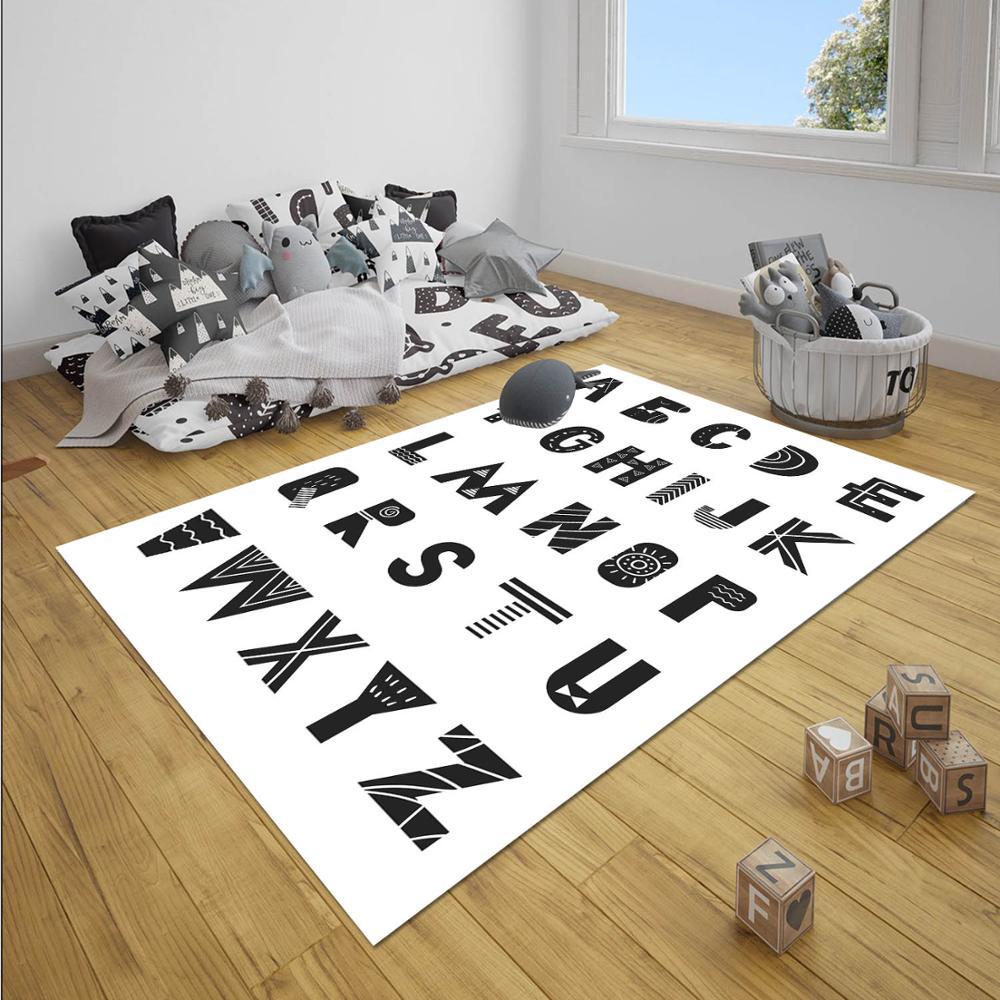 Else Black White Educational Alphabet Letter Unisex 3d Print Non Slip Microfiber Children Baby Kids Room Decorative Area Rug Mat