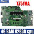Материнская плата для ноутбука Amazoon X751MA для ASUS X751MA X751M K751M X751 протестированная оригинальная материнская плата 4G RAM N2830 cpu
