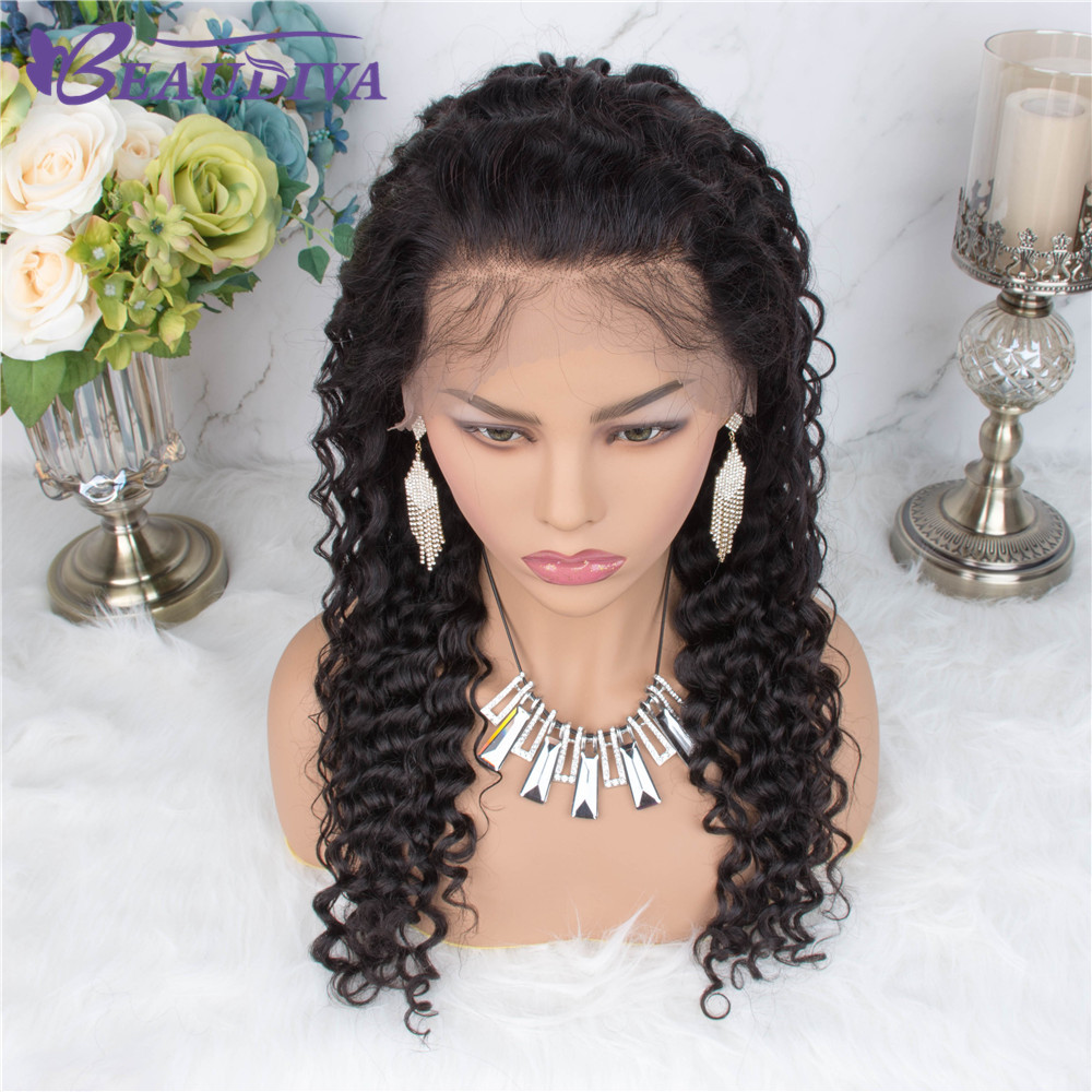 360 Brazilian Deep Wave Lace Wigs Bleached knot Beaudiva Pre-Plucked Frontal Human Hair With Baby