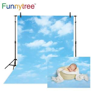 Image 3 - Funnytree blue sky photography baby shower backdrop cloud party decor Rainbow newborn birthday background photo studio photozone