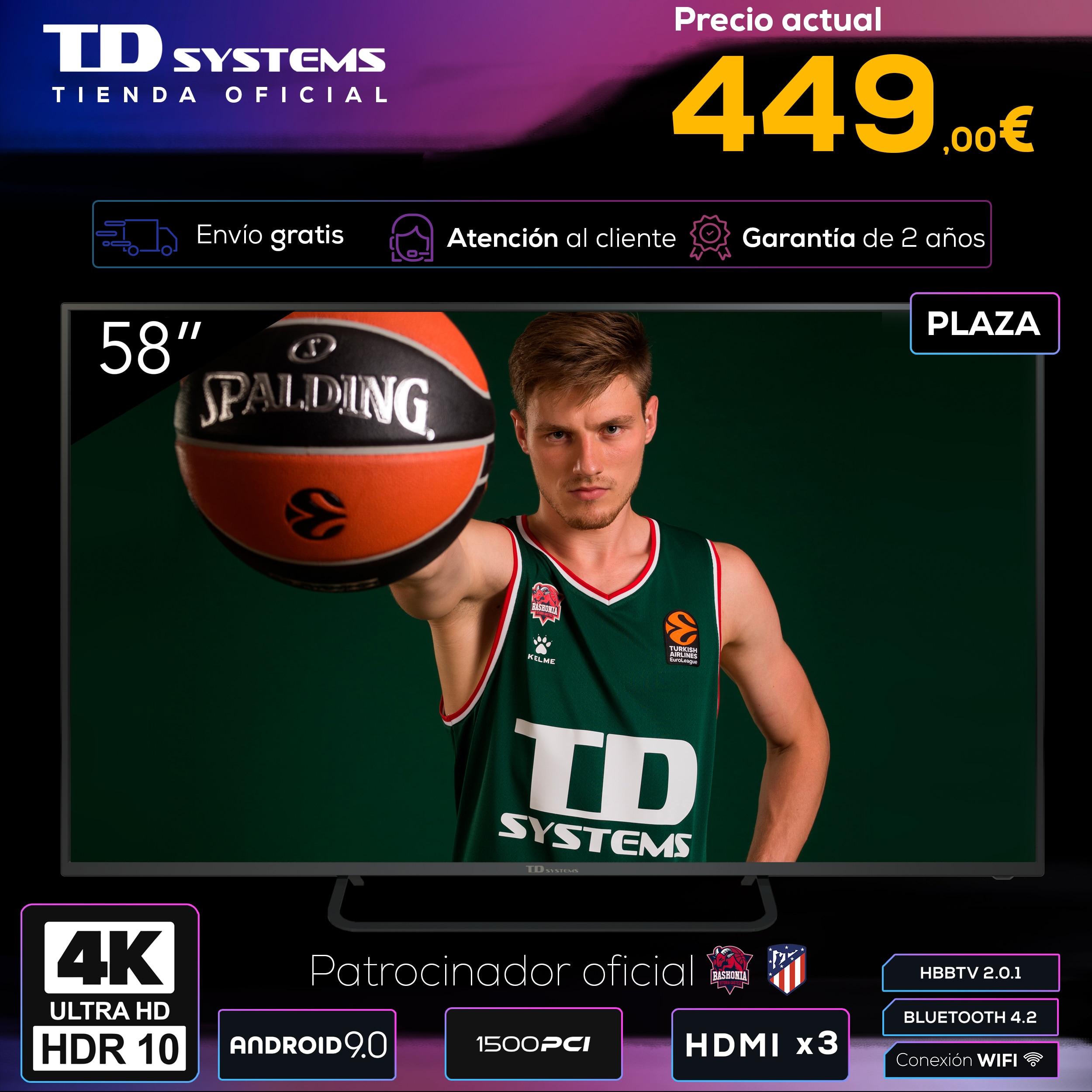 Televisores Smart TV 58 Pulgadas TD Systems K58DLX11US. UHD 4K HDR, DVB T2/C/S2, HbbTV [Envío desde España, garantía de 2 años]|Smart TV| - AliExpress