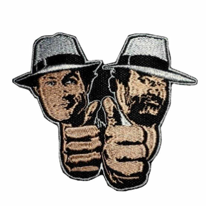3.55 double double duplo problema logotipo bordado remendo bud spencer & terence hill filme 2 punhos