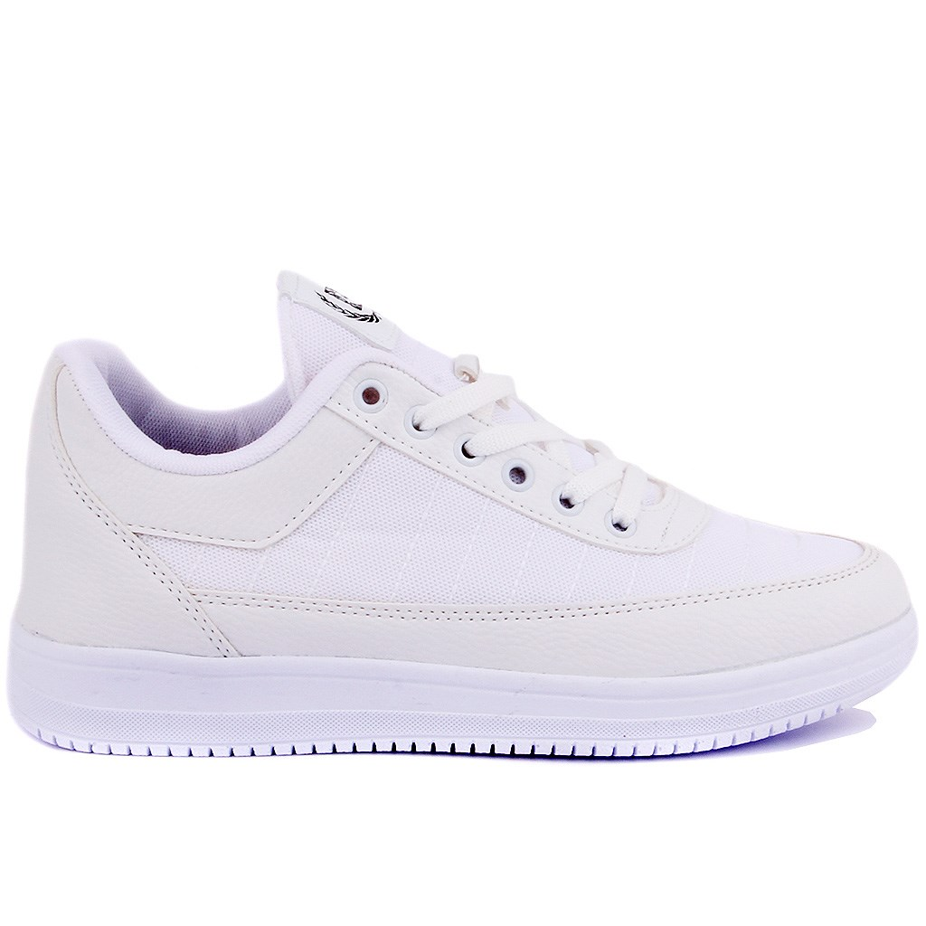 Pierre Cardin-White Lace-Up Women Casual Shoes