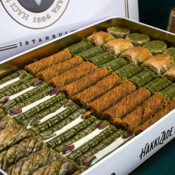 Tradycyjny świeży pyszny premium mieszany turecki baklawa z pistacją Deser baklawa turecka znana marka pistacjowa baklawa tanie i dobre opinie HAFIZ MUSTAFA TR (pochodzenie) Gotowanie pochodnie Deser narzędzia