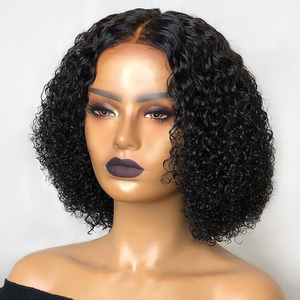 150% Short Curly Bob 13x4 Lace Front Human Hair Wigs Remy Brazilian For Women Pre Pluck Natural Color Bleached Knots Slove Rosa(China)