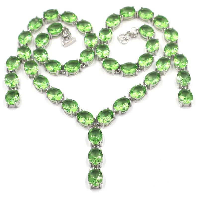 34x9 مللي متر كبيرة الثقيلة 61.3g مكون الأخضر تسافوريتي العقيق الزفاف المرأة قلادة فضية 20.5 بوصة-في قلادات من الإكسسوارات والجواهر على  مجموعة 1