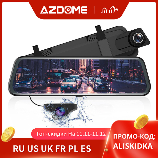 """AZDOME 10"""" Mirror Dash Cam for Cars with Full Touch Screen, Waterproof Backup Camera Rear View Mirror Camera, Night Vision"""
