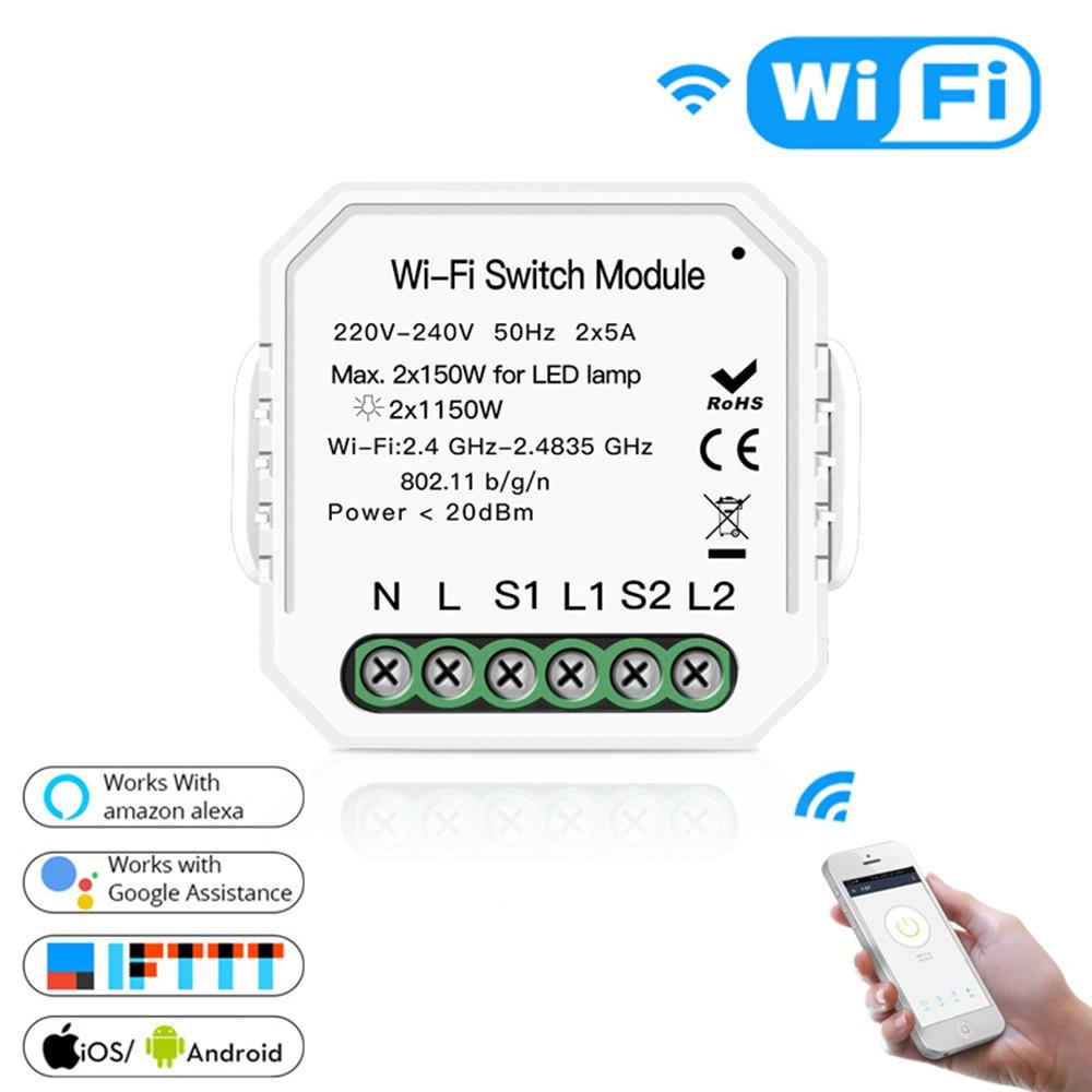 2 Gang 2 Way  Smart Wifi Switch Module Smart Life Tuya Switch Relay Breaker Module Alexa Amazon Google Home PK Ewelink