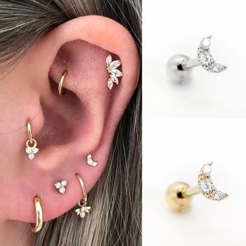 925 Sterling Silver Fine Jewelry Minimalist Glitter Moon Stud Earring For Woman Wedding Anniversary Piercing Pendientes Plata - discount item  42% OFF Fine Jewelry