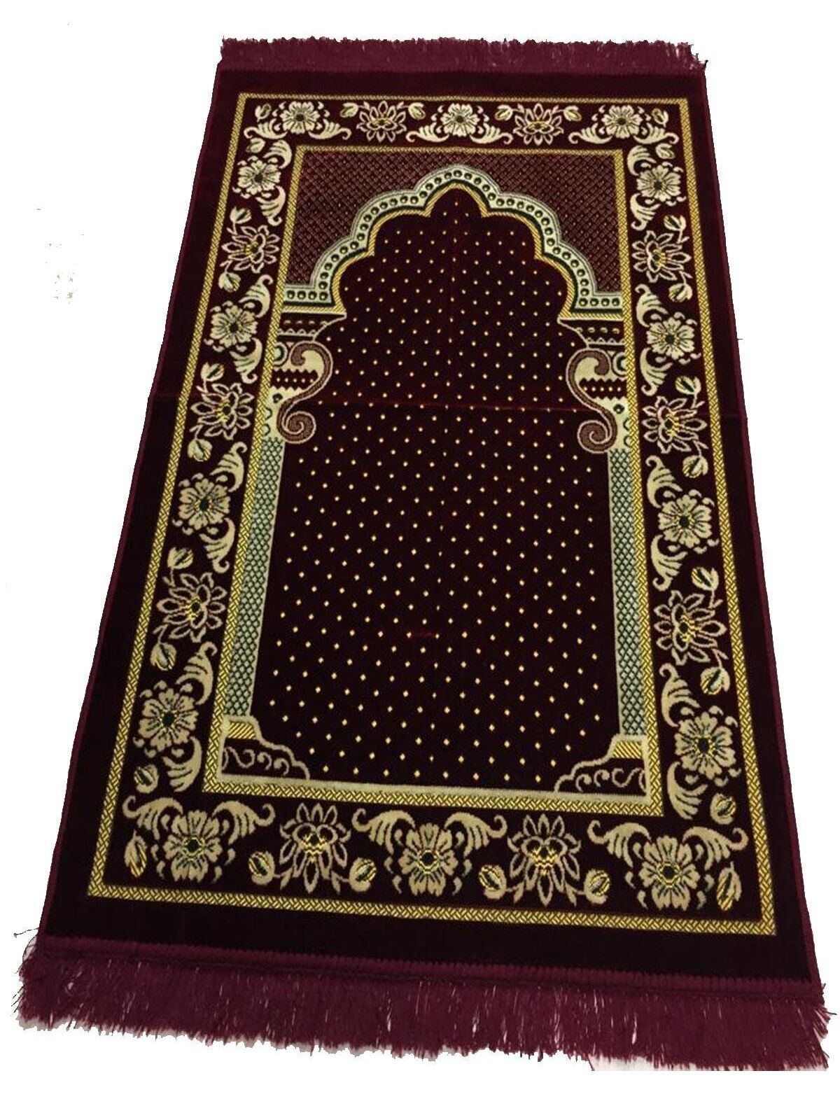 70 x 110 Velvet Prayer Mat Rug Muslim Prayer Carpet Gift Burgundy Blue Green Dark Blue Brown Hadj Sajjadah