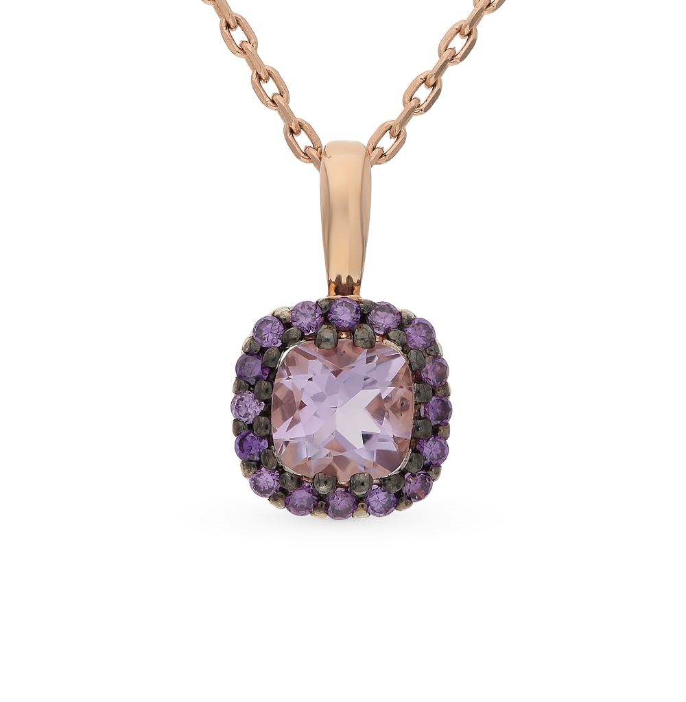 Gold Pendant With Amethyst And Cubic Zirconia Sunlight Sample 585