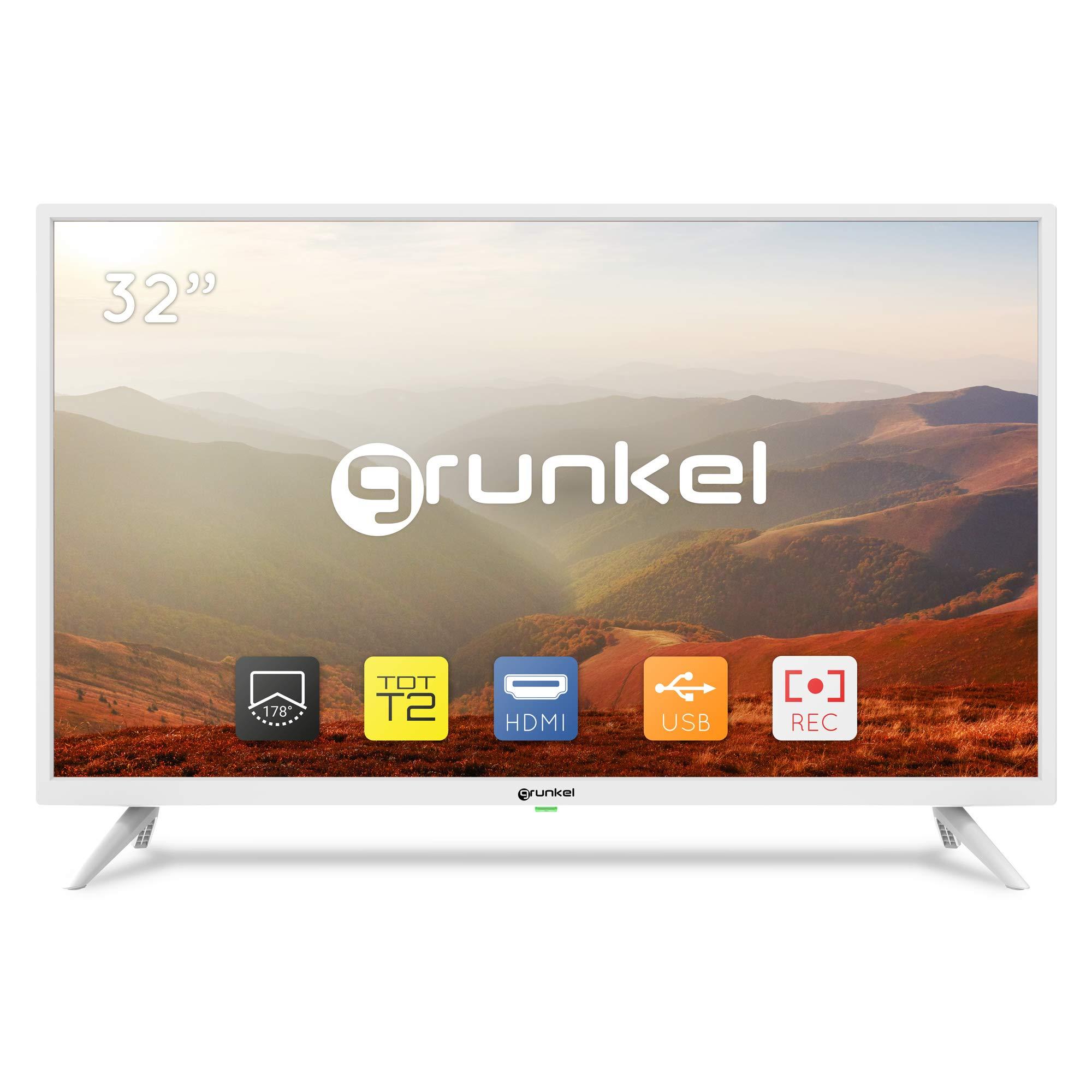 Grunkel - LED-3220BLANCO - Televisor LED HD Ready, Alta definición y Modo Hotel. Auto-apagado y Función Grabador - 32 Pulgadas