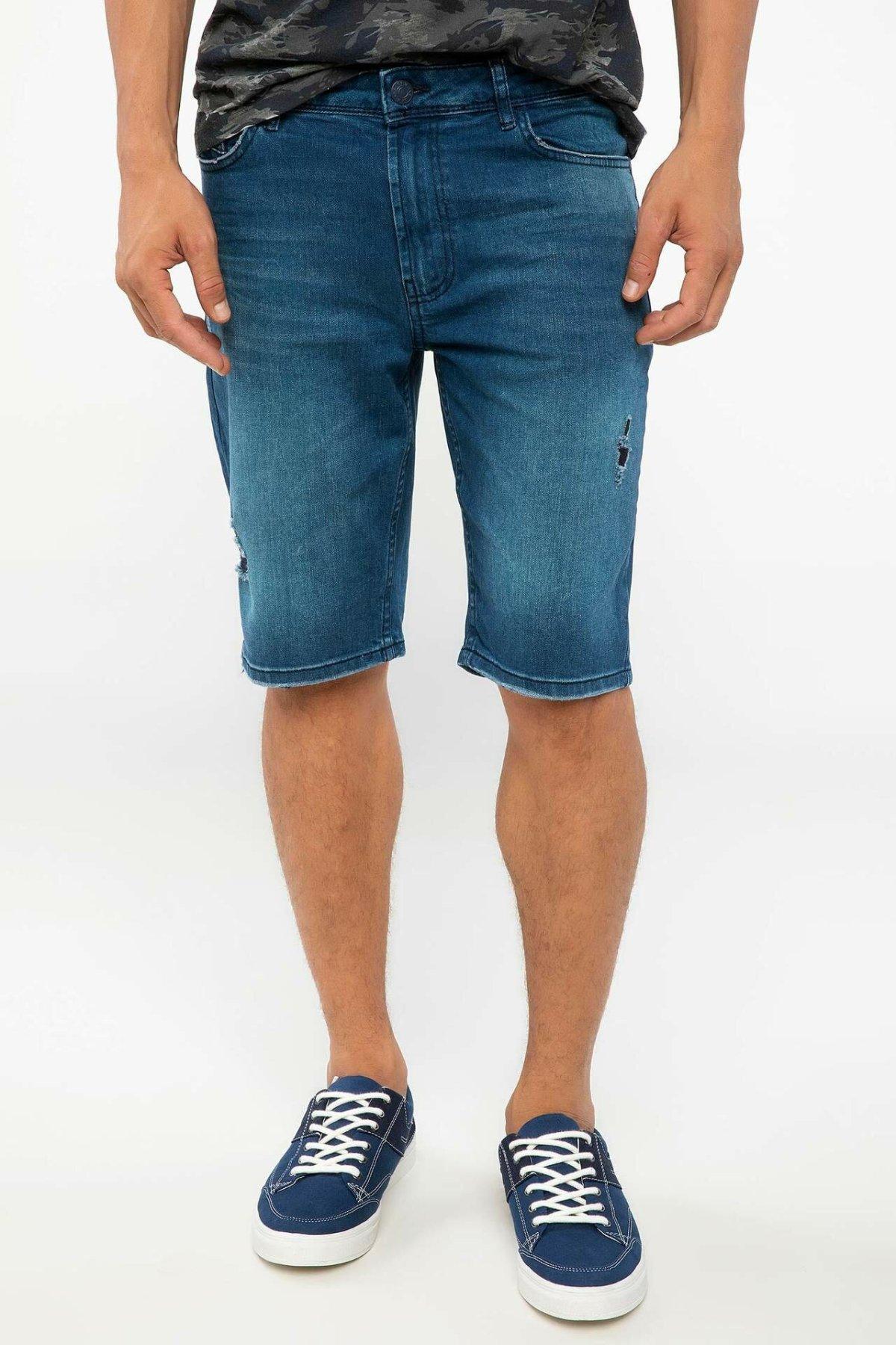 DeFacto Man Summer Washed Blue Denim Bottom Shorts Men Casual Soft Denim Bottoms Male Bermuda Shorts-I8824AZ18SM