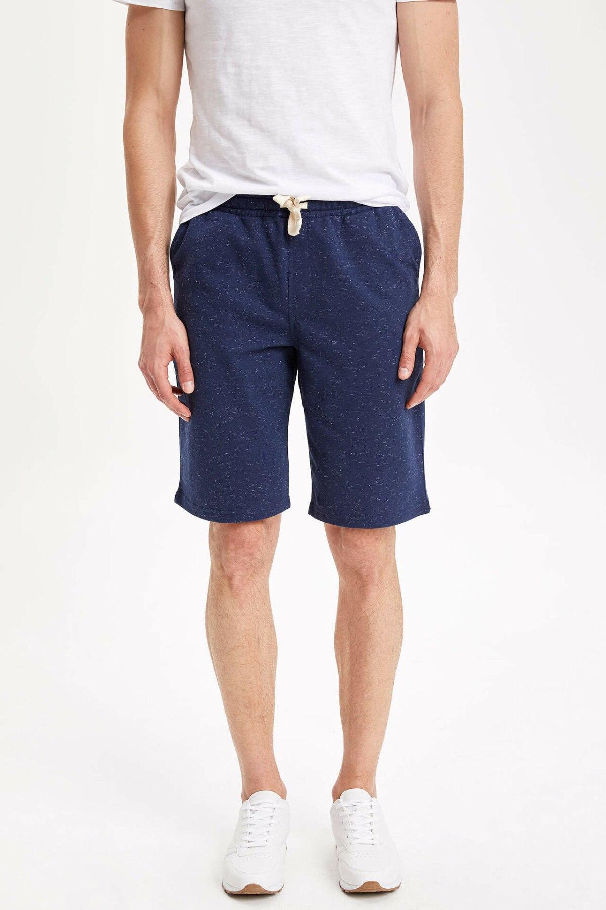 DeFacto Man Summer Solid Color Short Bottoms Men Casual Loose Lace-up Bottom Short Male Blue Shorts-L0071AZ19SM