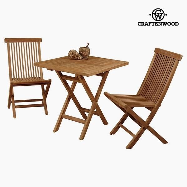 Masa ve 2 sandalye tik (70x70x77 cm) Craftenwood title=