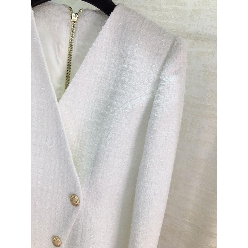 Осенне зимнее новое белое платье с длинными рукавами - 5