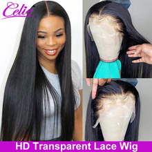 HD Lace Frontal Wig Straight Lace Front Wig 150 180 250 Density Celie 5x5 HD Transparent Lace Wig Lace Front Human Hair Wigs