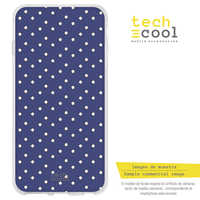 FunnyTech®Silicone Case for Wiko Y70 Bottom l navy blue polka dot