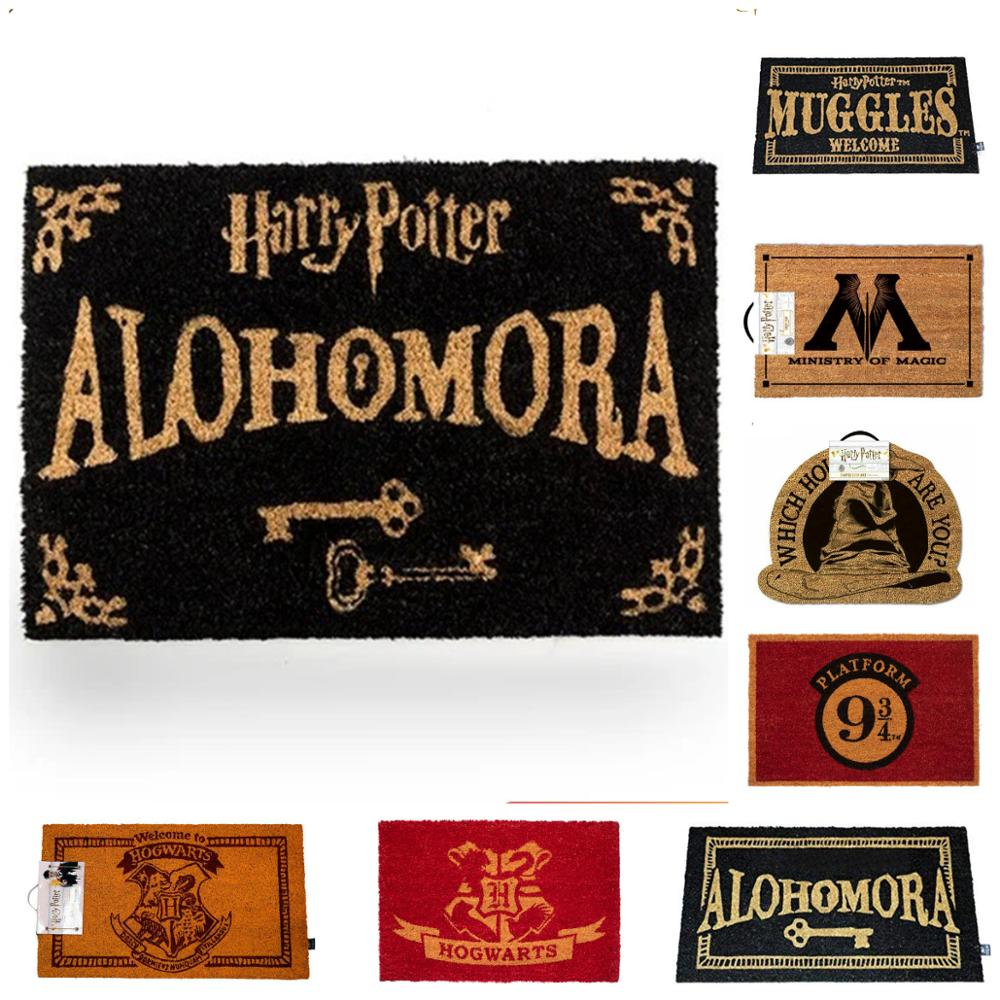Harry Potter doormats ideal for fans of the saga, different Muggle models Welcome, Alohomora, 9 and 3/4, welcome hogwarts Mat  - AliExpress