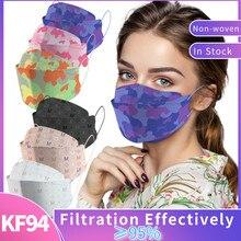 Masque kf94pour hommes et femmes, lot de 10 ou 100 pièces, masque noir, imprimé à la mode, respirant, ffp2, kn95