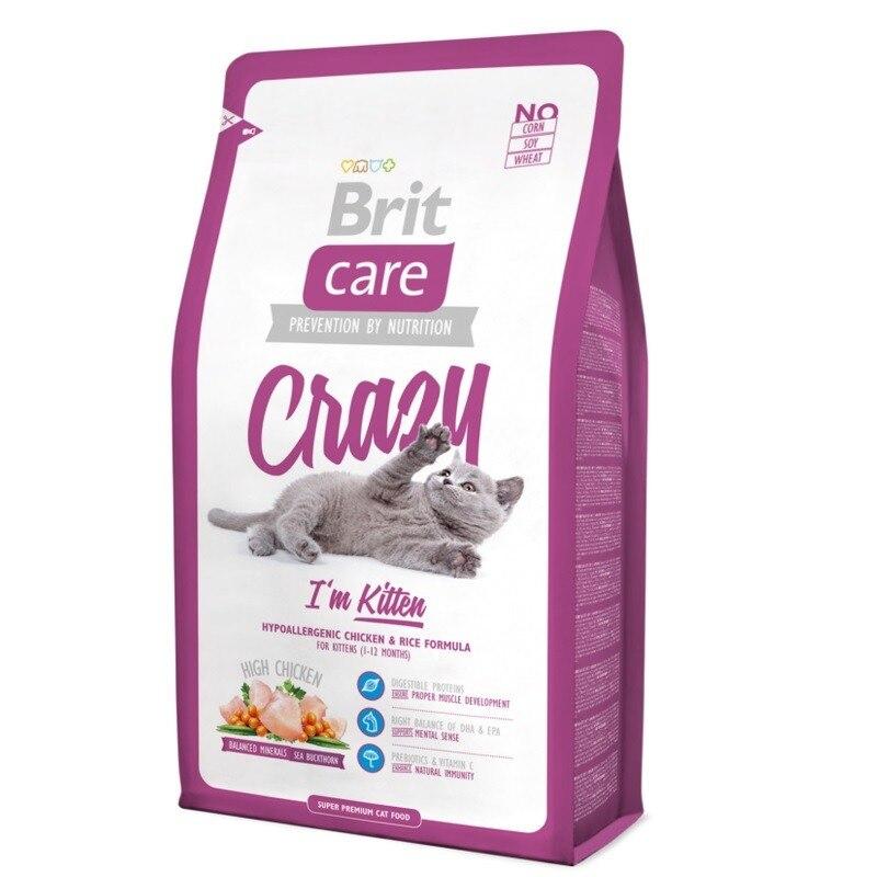 Корм для кошек Brit Care Cat Crazy Kitten для котят, беременных и кормящих кошек, Курица, 2 кг