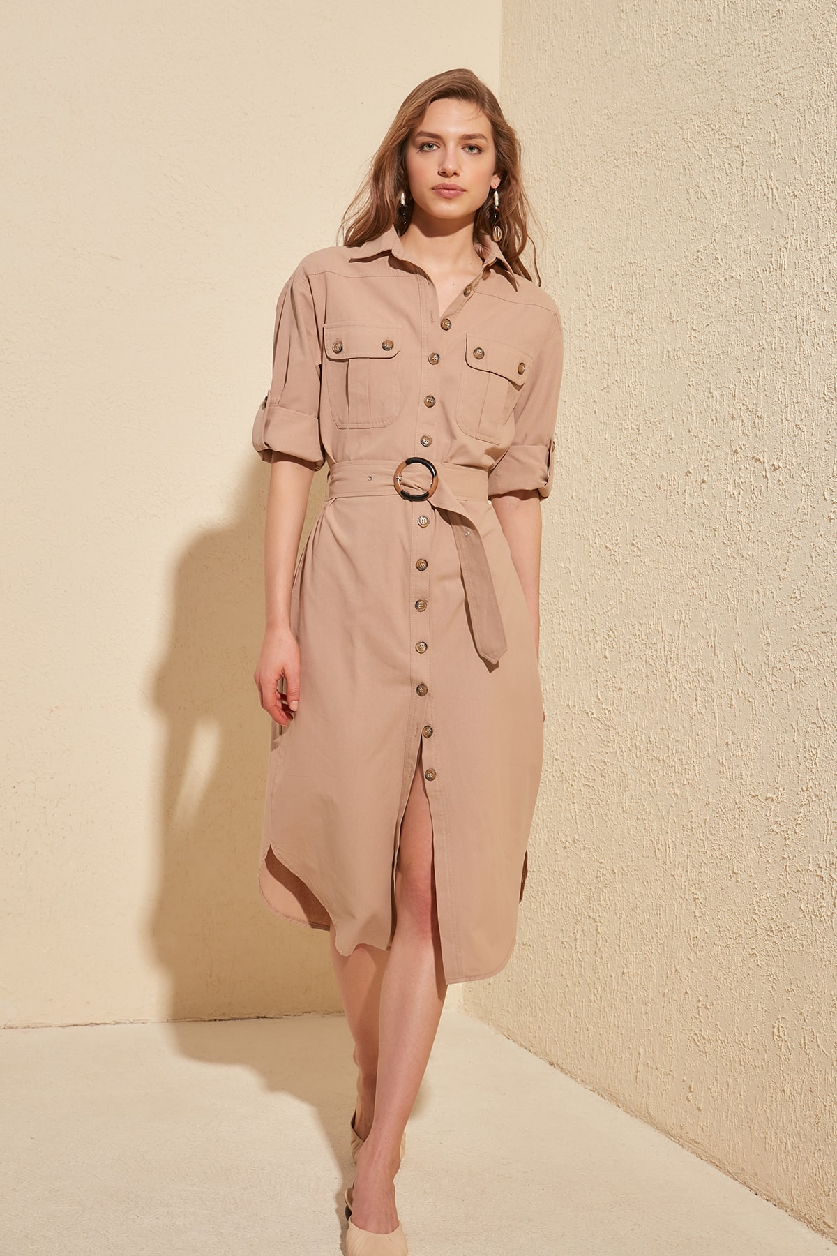 Trendyol Arched Shirt Dress TWOSS20EL1069
