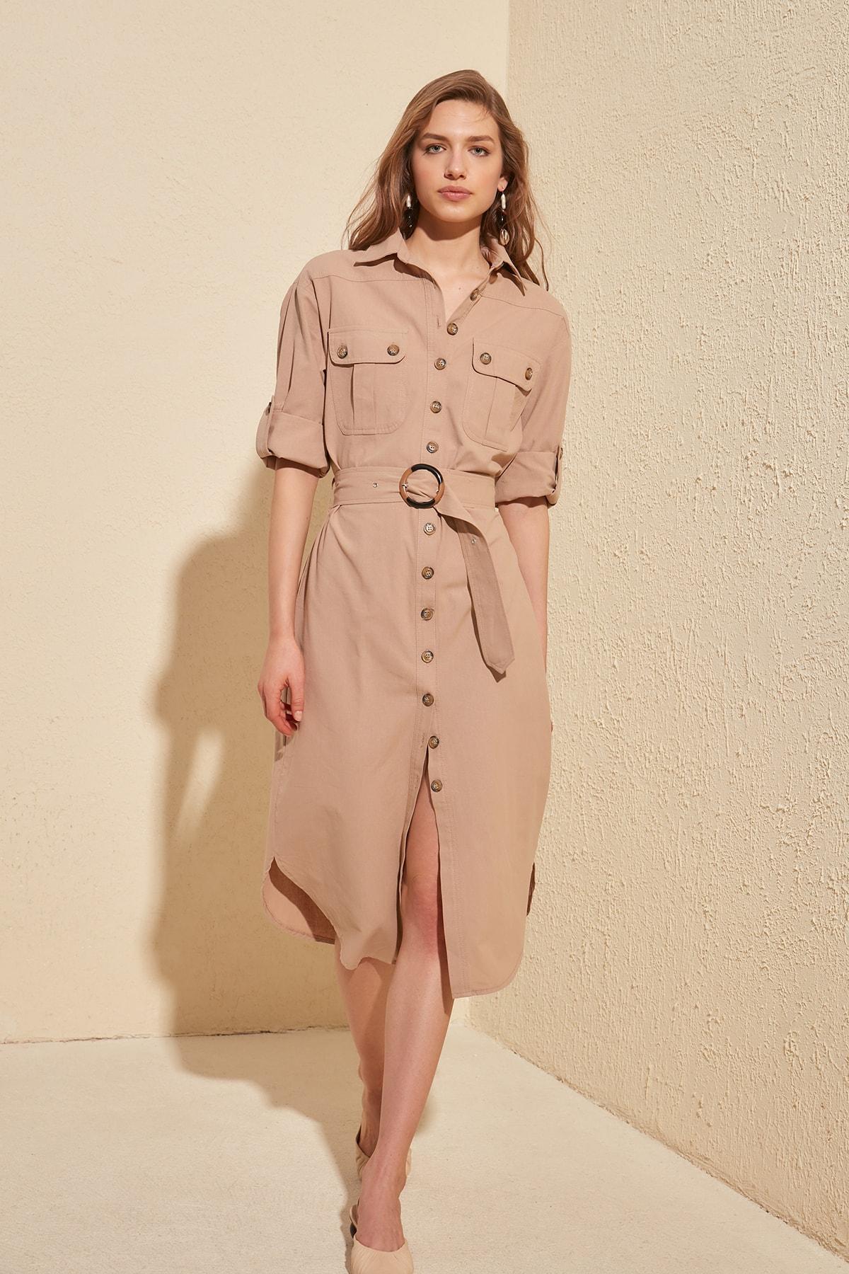 Trendyol Arched Shirt Dress TWOSS20EL1069