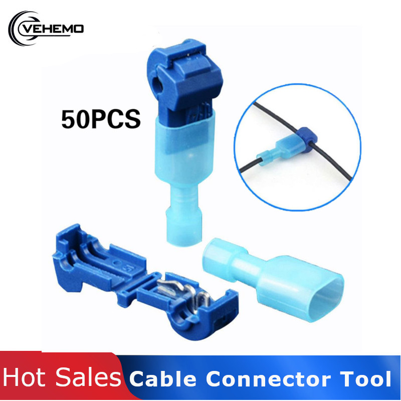 Vehemo 50Pcs/Set Blue Practical Cable Connector Tap Electric Wire Connector Premium Car Accessories Tool Replacement Circuit