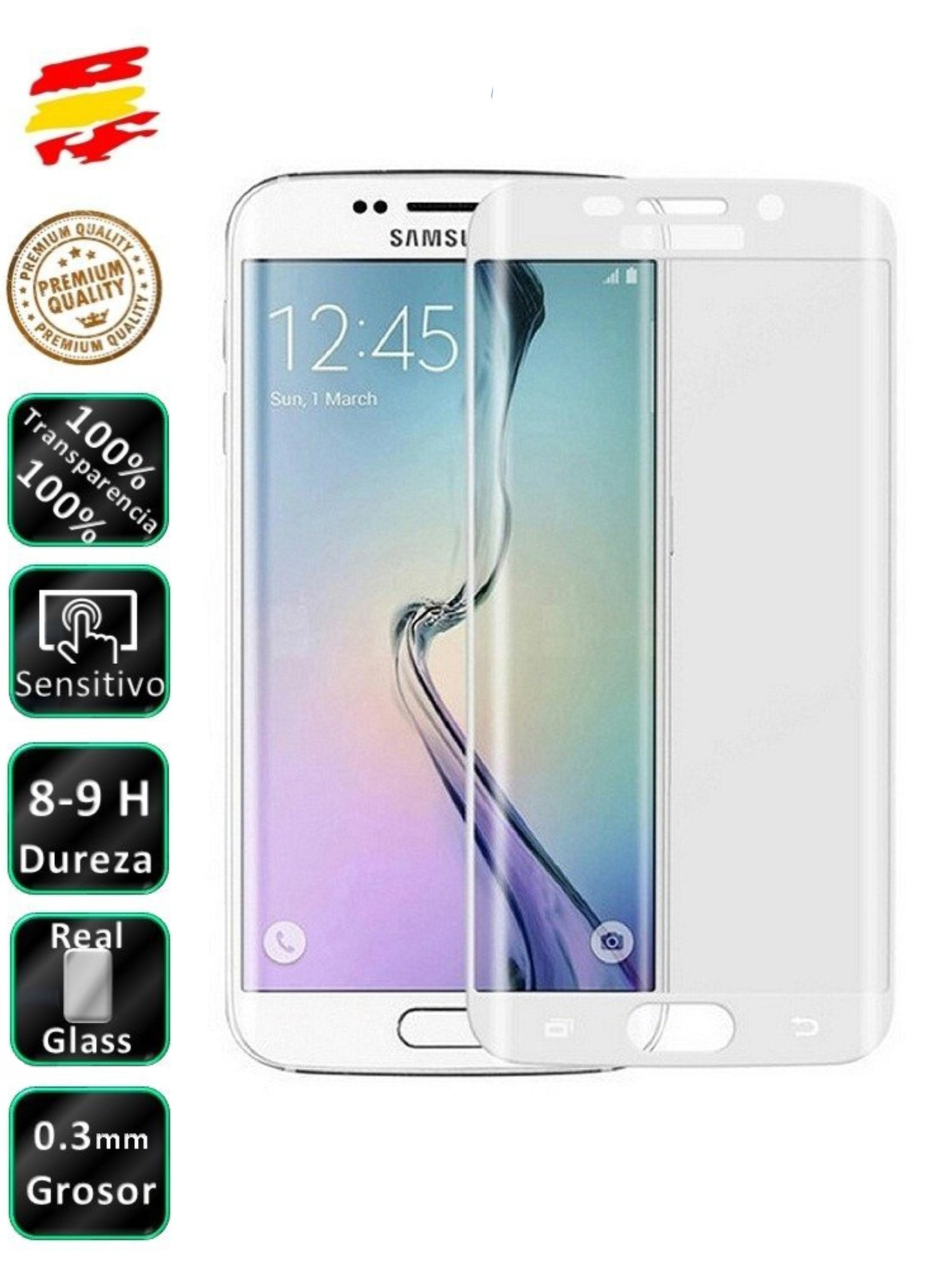 Protector Samsung Galaxy S7 Edge Complete White Color 3D Tempered Screen image