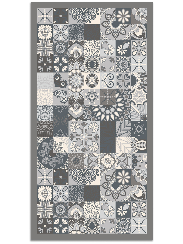 Panorama® Vinyl Rug Printed With Hydraulic Design In Grey Colour | Kitchen Carpet | Living Room Rug | XXL Rugs | PVC Rugs…