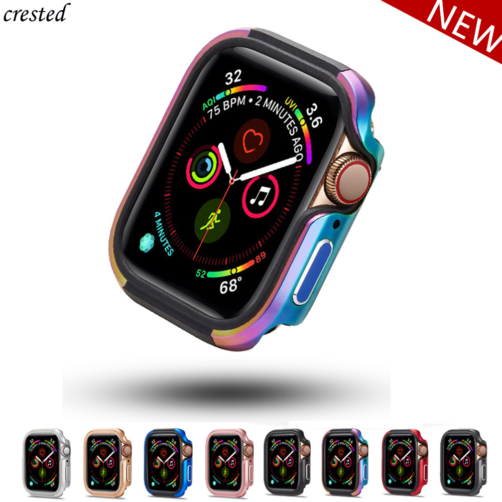 Bumper For Apple Watch 5 Case 44mm 40mm Ultra-thin Full TPU+Metal Protector Cover Case IWatch Series 5 4 40/44 Mm Accessories
