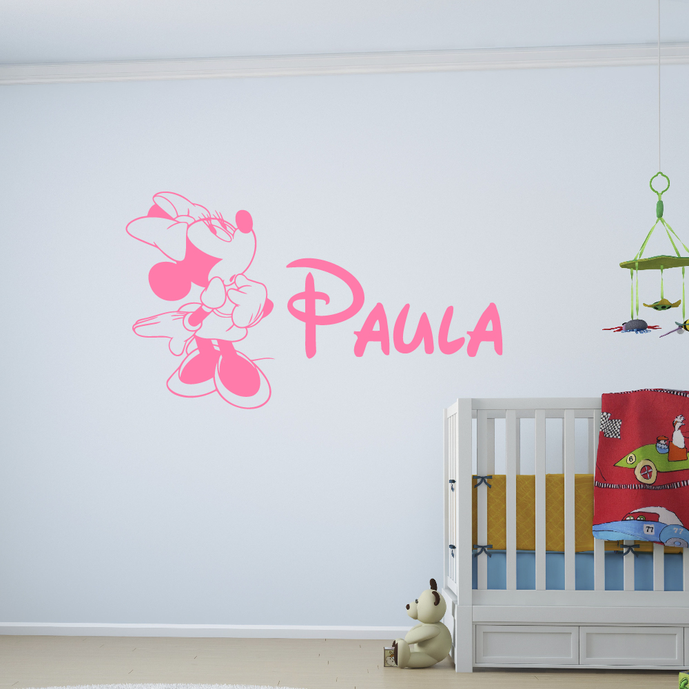 X1 Custom Vinyl Sticker Drawing + Name Disney For Wall, Door And Children Rooms Decoration.