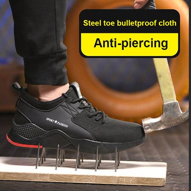 남자를위한 작업 부츠 작업 안전 신발 공장 철강 발가락 신발 미끄럼 방지 방지 스매싱 펑크 증거 통기성