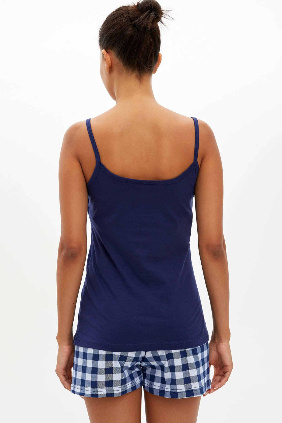 Defacto Người Phụ Nữ Mùa Hè Dây Bộ Đồ Ngủ Dệt Kim Bộ Nữ Áo Lưới Cột Dây Quần Short Nữ Homewear Set-M4447AZ19HS