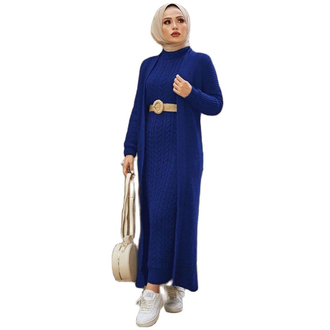 2 Pieces Woman Knitted Suit, Long Cardigan and Maxi dress Muslim Islamic Fashion Islamic Clothing Turkey Hijab Abaya Dubai 2021