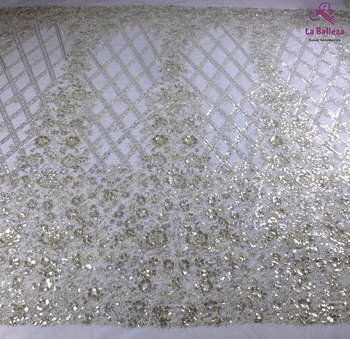 La Belleza new silver beaded lace fabric,silver wedding dress lace fabric shinely sequins lace fabric 1 yard