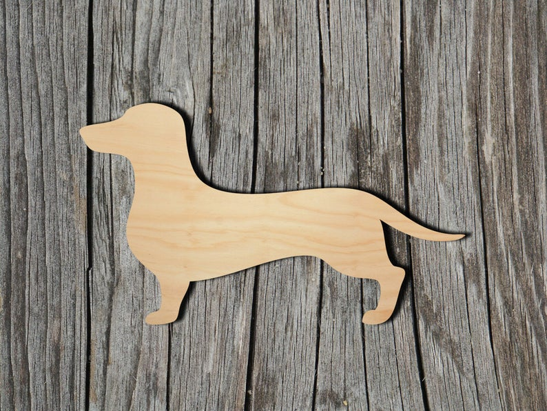 Daschund - Multiple Sizes - Laser Cut Unfinished Wood Cutout Shapes